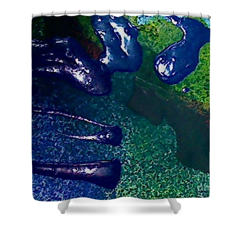 Abstract Shower Curtain featuring the painting Bungle by Mark Herman
