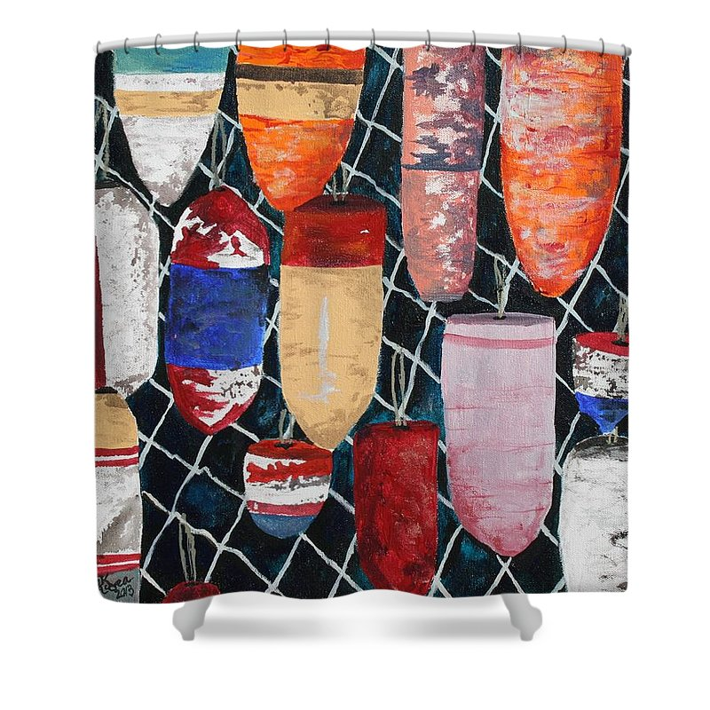 Buoy Shower Curtain featuring the painting Buoy Nautical Vintage Art by Derek Mccrea