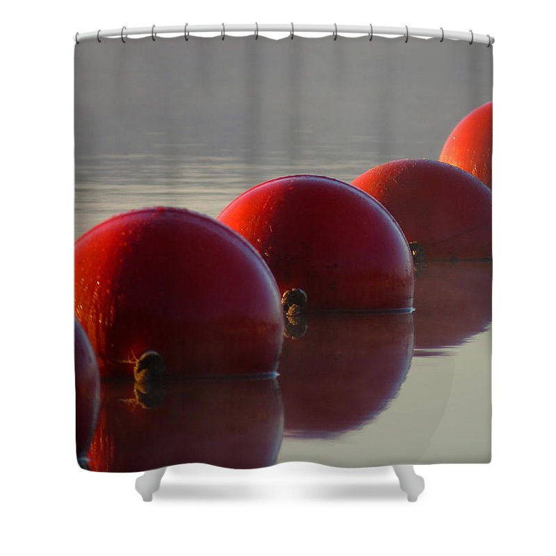 Long Pond Shower Curtain featuring the photograph Buoys In Fog by Dianne Cowen