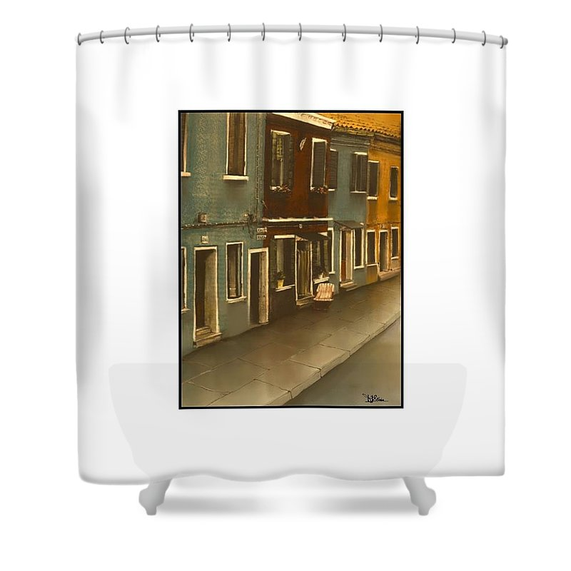 Italy Shower Curtain featuring the painting Burano Italy  No 18 by Diane Strain