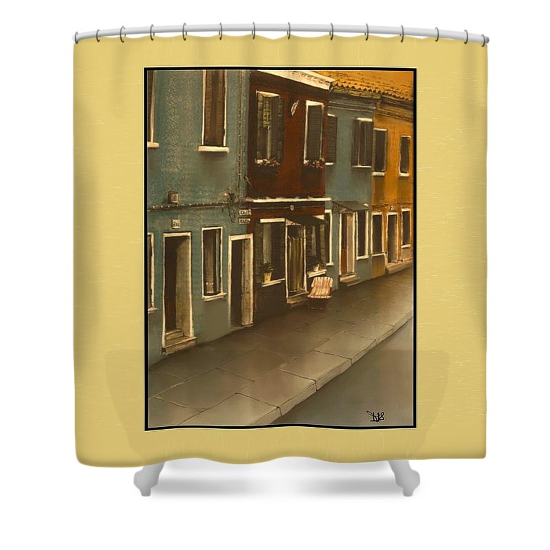 Italy Shower Curtain featuring the painting Burano Italy  No 20 by Diane Strain