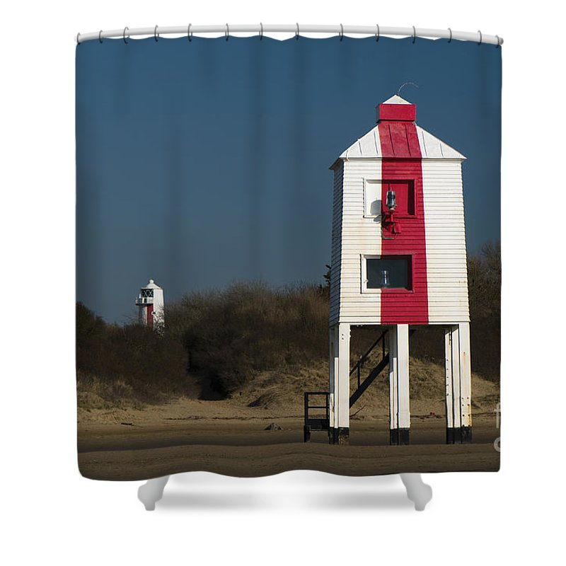 19th Shower Curtain featuring the photograph Burnham-on-sea Lighthouses by Anne Gilbert