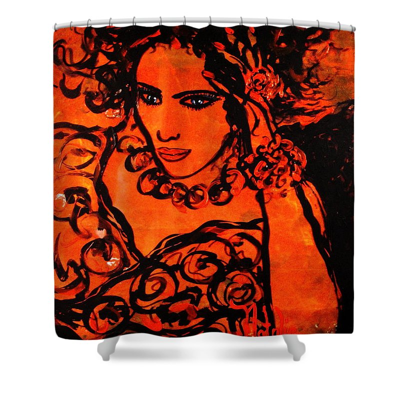Burning Desire Shower Curtain featuring the painting Burning Desire by Natalie Holland