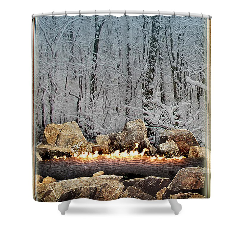 Yule Shower Curtain featuring the digital art Burning Yule Log by Melissa A Benson