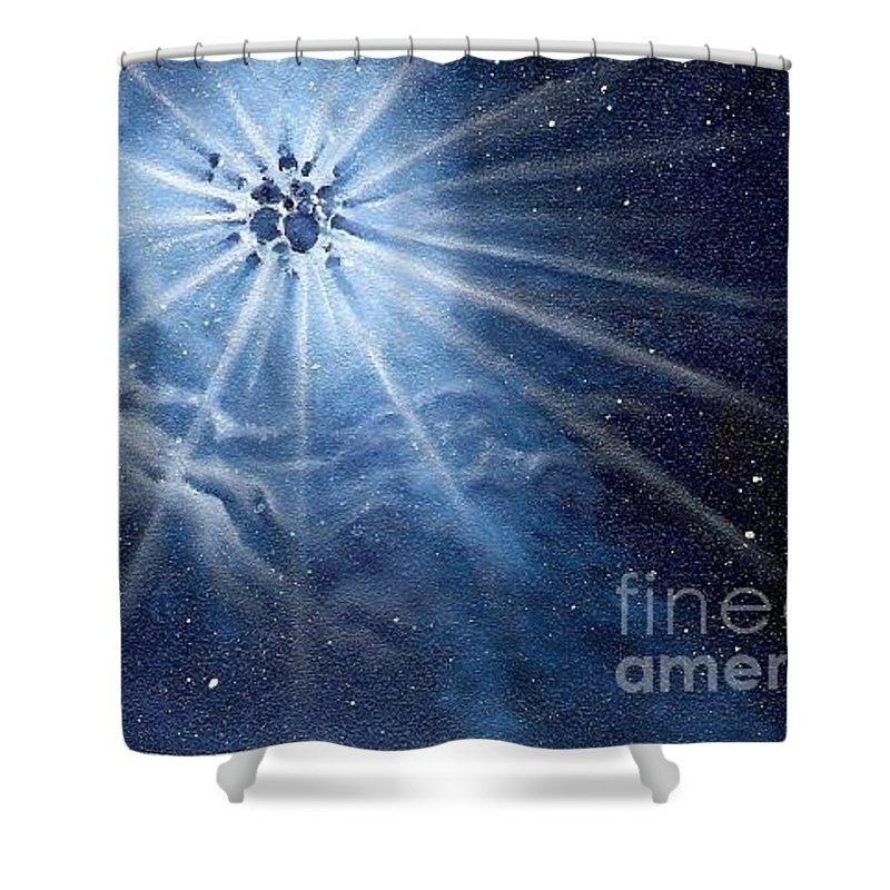 Outerspace Shower Curtain featuring the painting Burst Of Light by Murphy Elliott