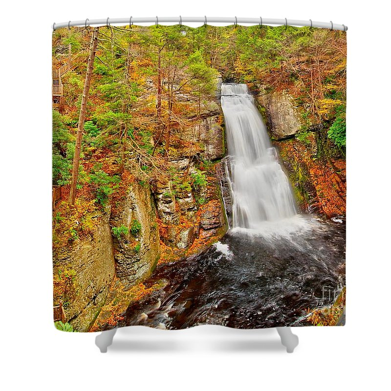 Autumn Shower Curtain featuring the photograph Bushkill Falls Pa by Nick Zelinsky