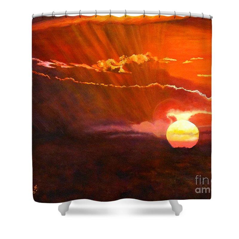 Sunset Shower Curtain featuring the painting Bushveld Sunset by Caroline Street