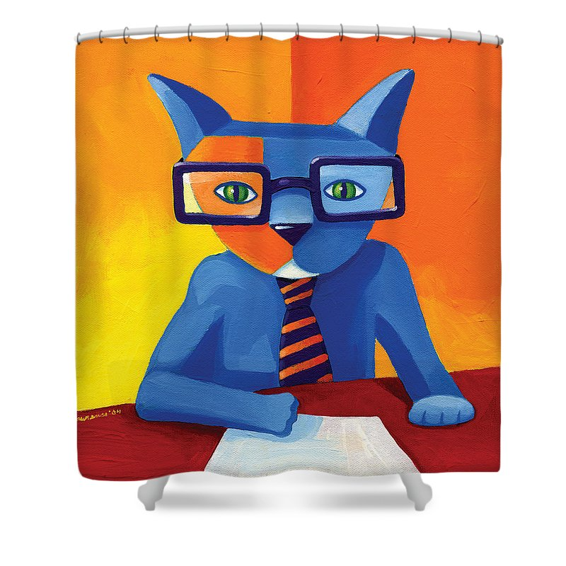 Cat Shower Curtain featuring the painting Business Cat by Mike Lawrence