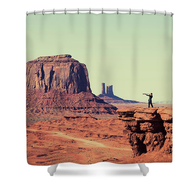 Corporate Business Shower Curtain featuring the photograph Business Vision by Richvintage