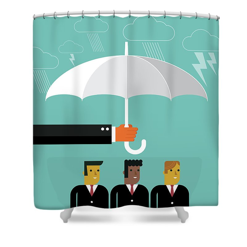 Problems Shower Curtain featuring the digital art Businessmen Protection by Sorbetto
