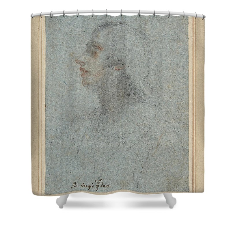 Orazio Fidani Shower Curtain featuring the drawing Bust Of A Youth Looking To Upper Left by Orazio Fidani