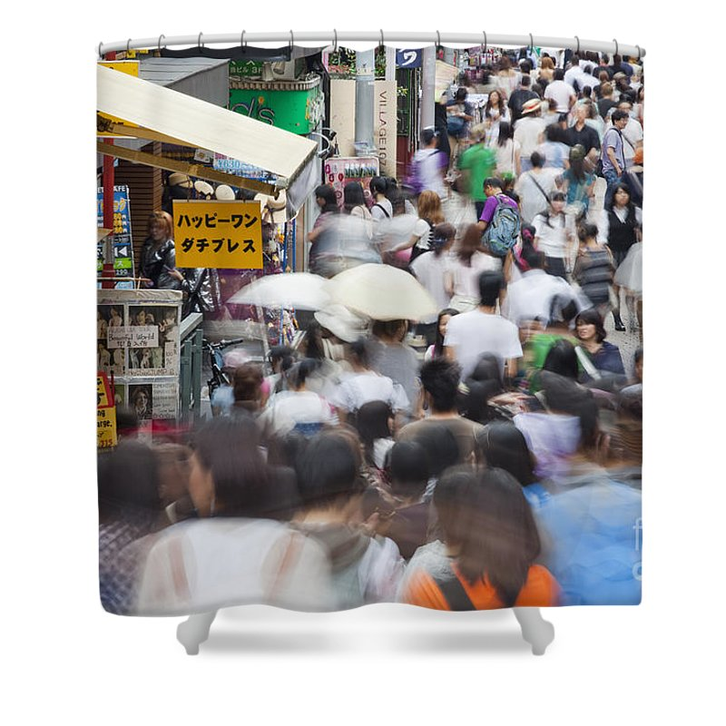 Takeshita Dori Shower Curtain featuring the photograph Busy Takeshita Dori by Bryan Mullennix