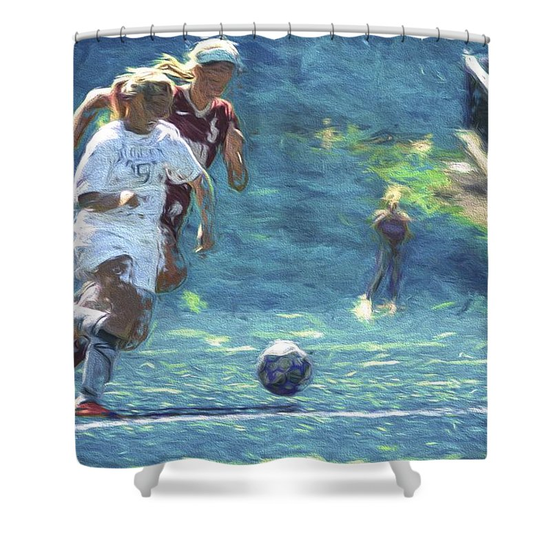 Soccer Shower Curtain Featuring The Photograph Butler University Athlete Sophia Maccagnone Painted Digitally By David