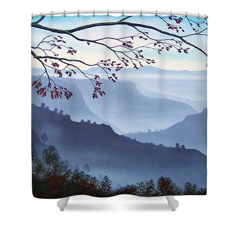 Mural Shower Curtain featuring the painting Butte Creek Canyon Mural by Frank Wilson