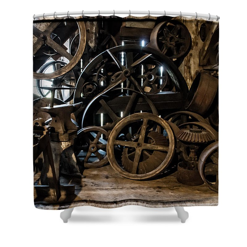 Special Effect Shower Curtain featuring the photograph Butte Creek Mill Interior Scene by Mick Anderson
