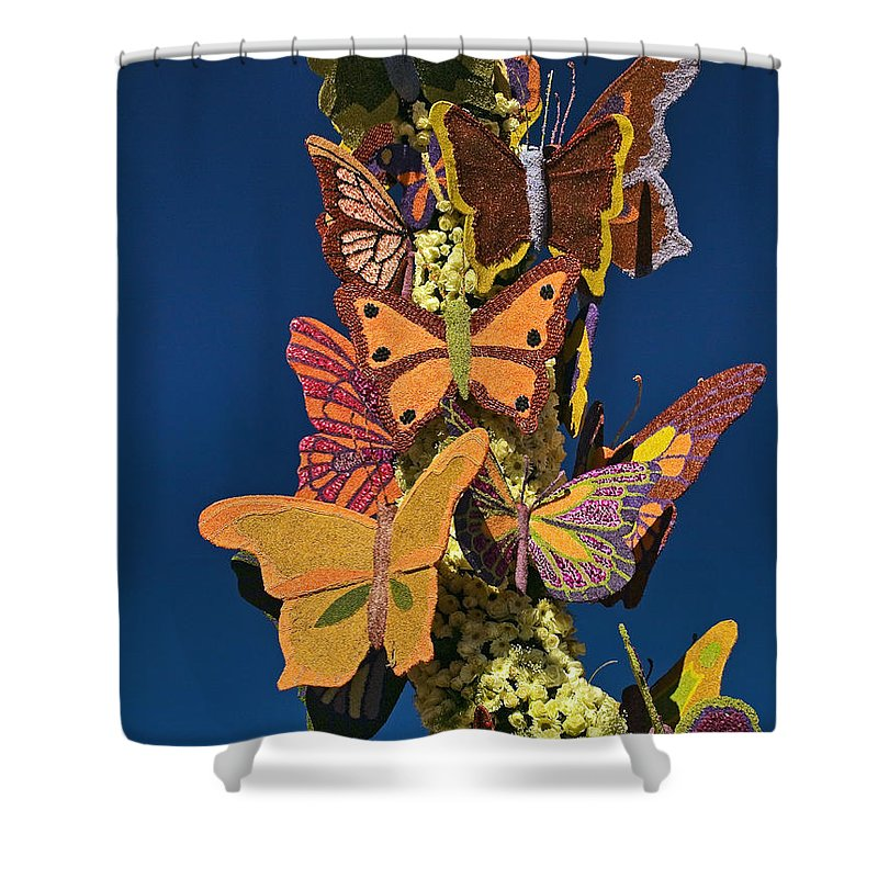 Butterflies Shower Curtain featuring the photograph Butterflies On A 2015 Rose Parade Float 15rp047 by Howard Stapleton