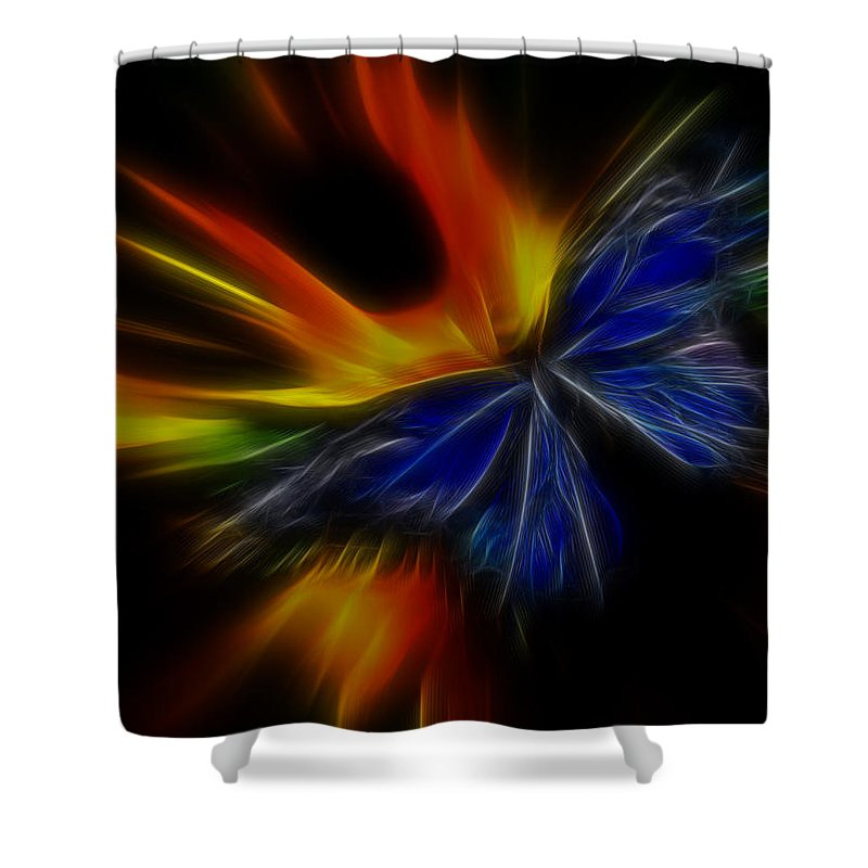 Butterfly Shower Curtain featuring the photograph Butterfly And Flame by Steve McKinzie