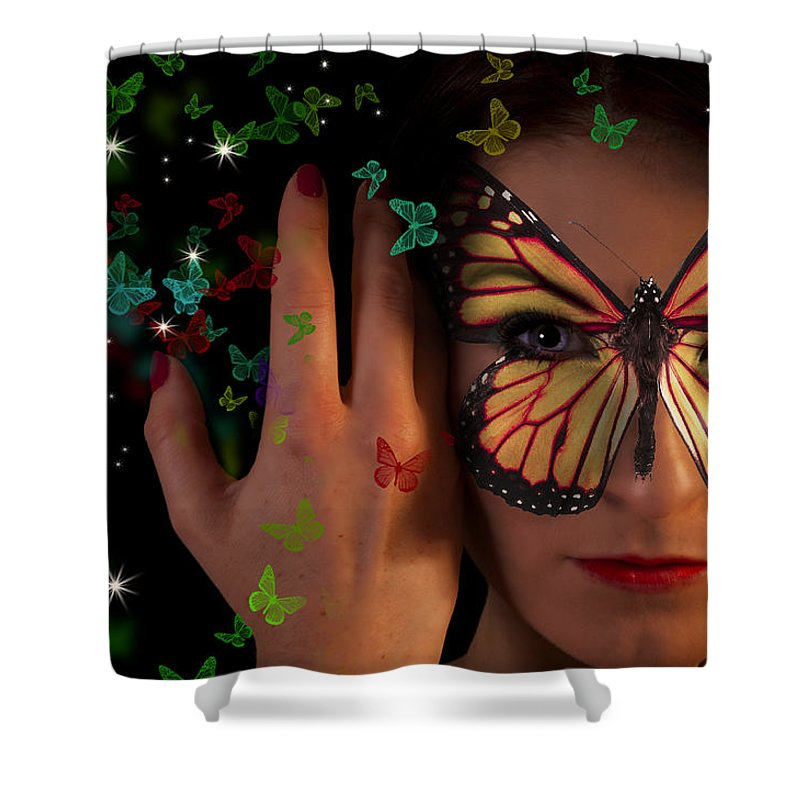 Female Shower Curtain featuring the digital art Butterfly Girl by Nathan Wright