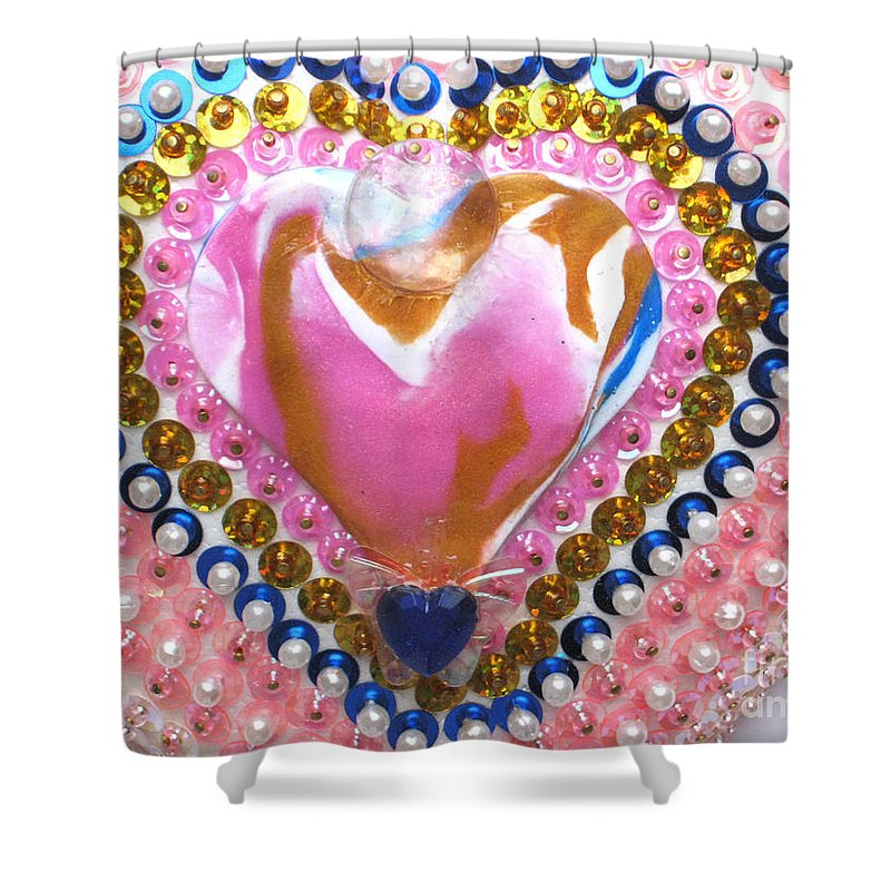 Butterfly Heart Shower Curtain featuring the relief Butterfly-heart Detail by Heidi Sieber