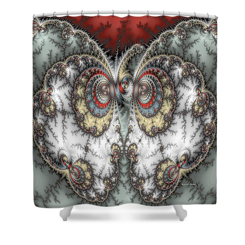 Mandelbrot Shower Curtain featuring the painting Butterfly Love by Angela Stanton