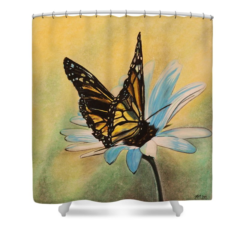Butterly Shower Curtain featuring the drawing Butterfly On Flower by Michelle Miron-Rebbe