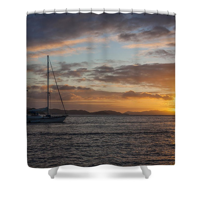 3scape Shower Curtain featuring the photograph Bvi Sunset by Adam Romanowicz