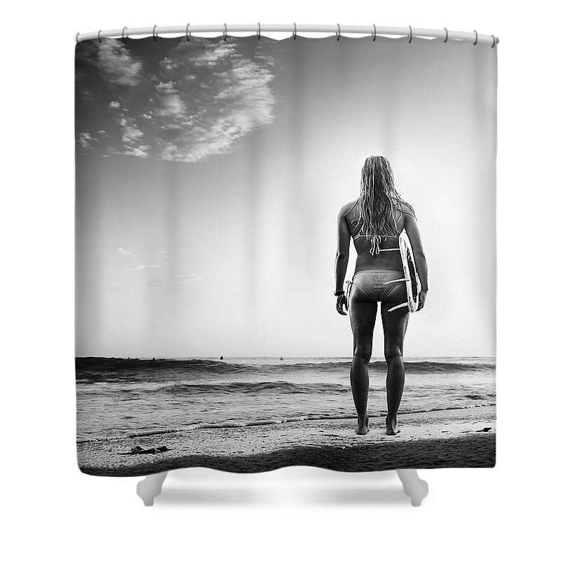 Recreational Pursuit Shower Curtain featuring the photograph B&w Surfer by Michaelsvoboda