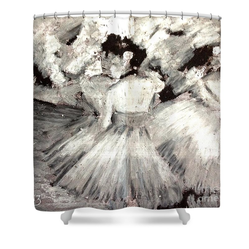 Degas Shower Curtain featuring the pastel By Degas by Maria Leah Comillas