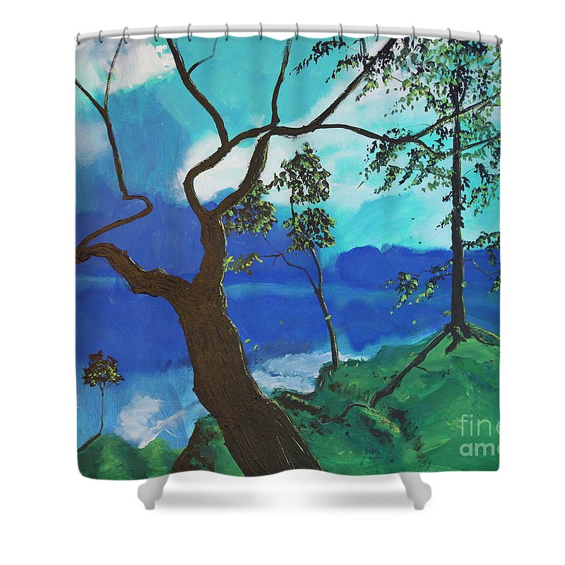 Nature Shower Curtain featuring the painting By Still Waters by Stefan Duncan