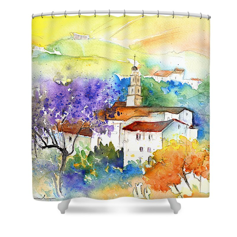 Travel Shower Curtain featuring the painting By Teruel Spain 02 by Miki De Goodaboom