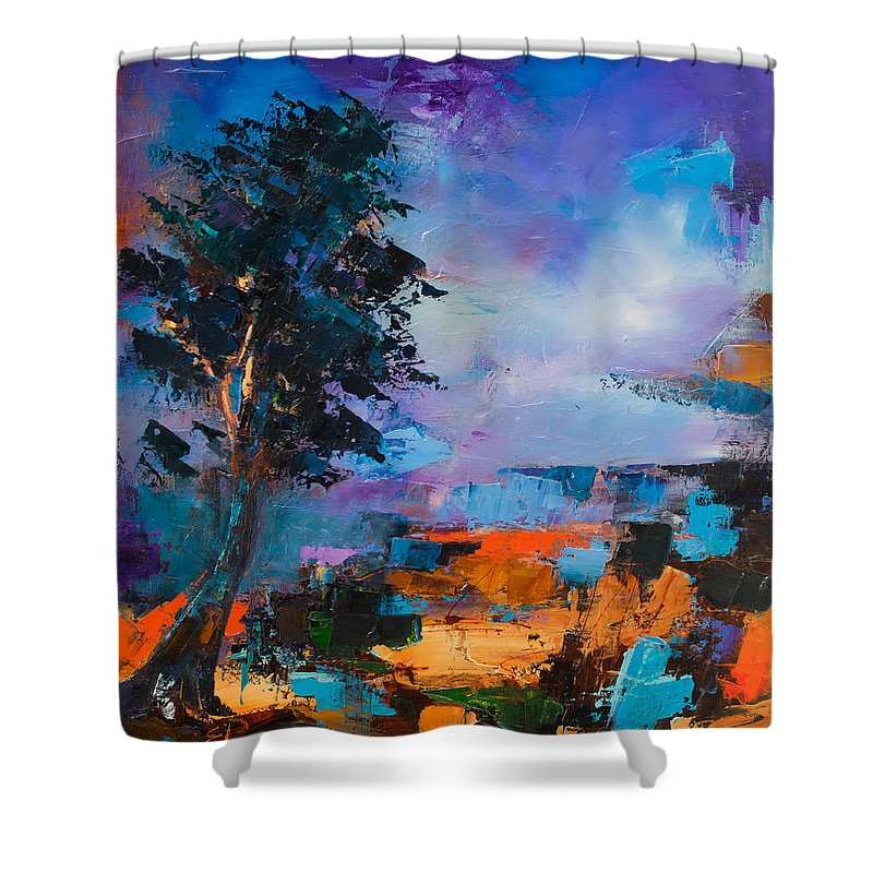 Elise Palmigiani Shower Curtain featuring the painting By The Canyon by Elise Palmigiani