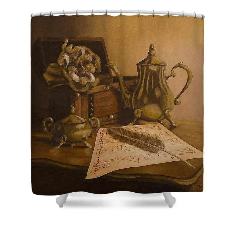 Still Life Shower Curtain featuring the painting By The Note Paper by Andreja Dujnic