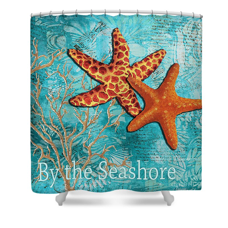 Starfish Shower Curtain featuring the painting By The Sea Shore Original Coastal Painting Colorful Starfish Art By Megan Duncanson by Megan Duncanson