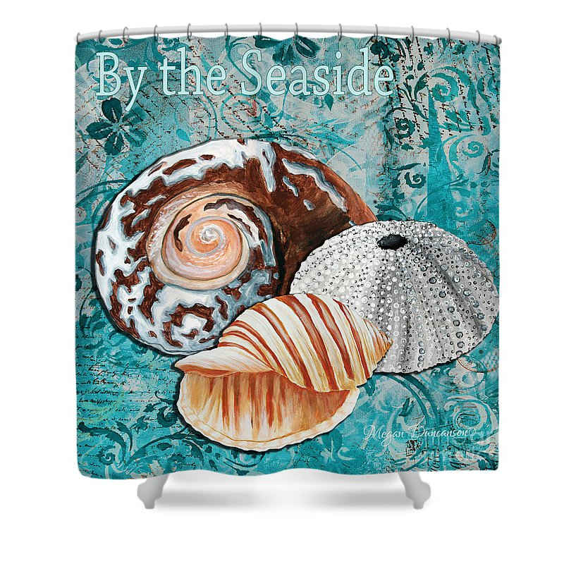 Seashell Shower Curtain featuring the painting By The Seaside Original Coastal Painting Colorful Urchin And Seashell Art By Megan Duncanson by Megan Duncanson