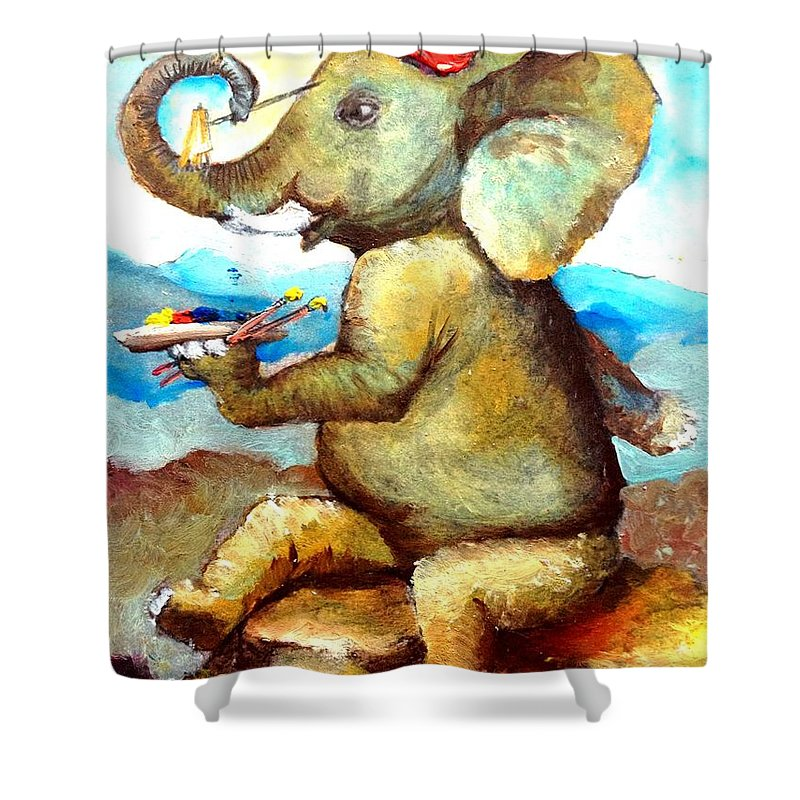 Elephants Shower Curtain featuring the mixed media By Tom Kidd by Maria Leah Comillas