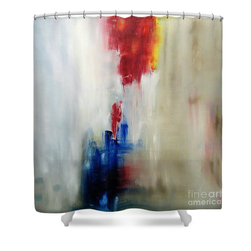 Abstract Painting Shower Curtain featuring the painting C-15 by Jeff Barrett