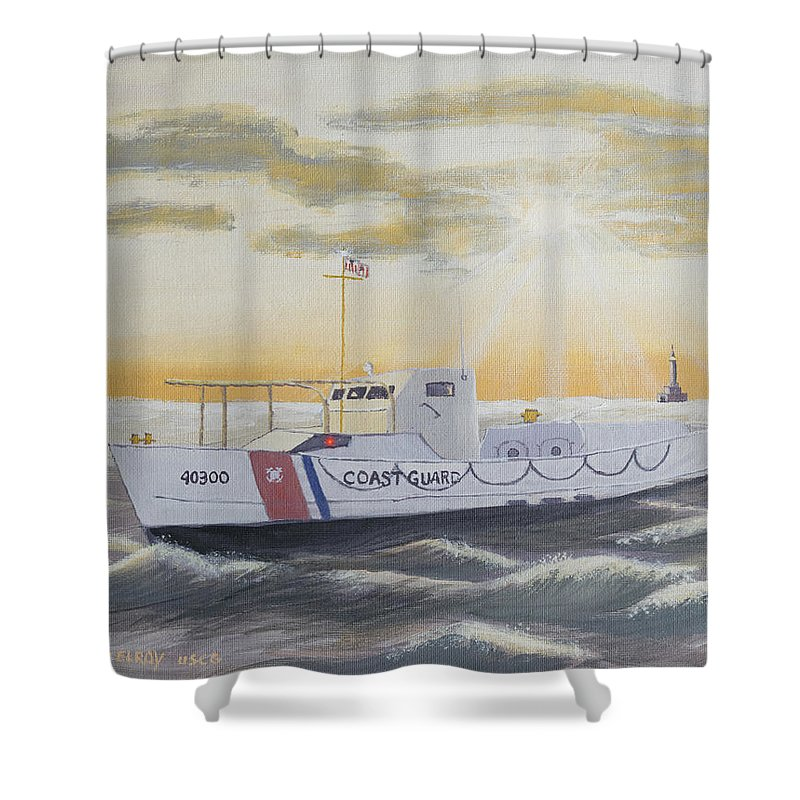 Coast Guard Shower Curtain featuring the painting C G 40300 On Patrol by Jerry McElroy