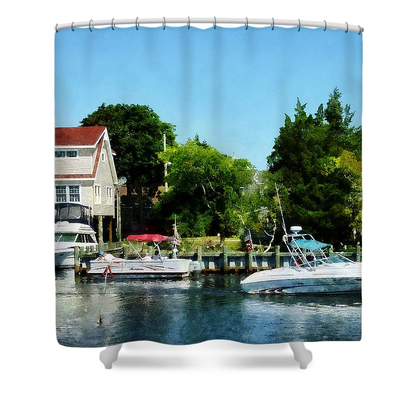 Boat Shower Curtain featuring the photograph Cabin Cruisers by Susan Savad