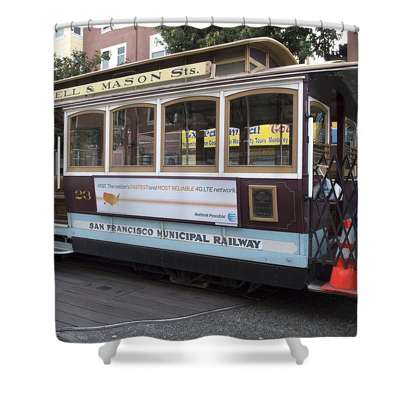 Photograph Shower Curtain featuring the photograph Cable Car Turn-around At Fisherman's Wharf by Christopher Winkler