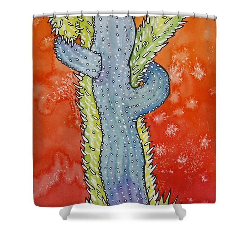 Cactus Shower Curtain featuring the painting Cactus Love by Joye Moon