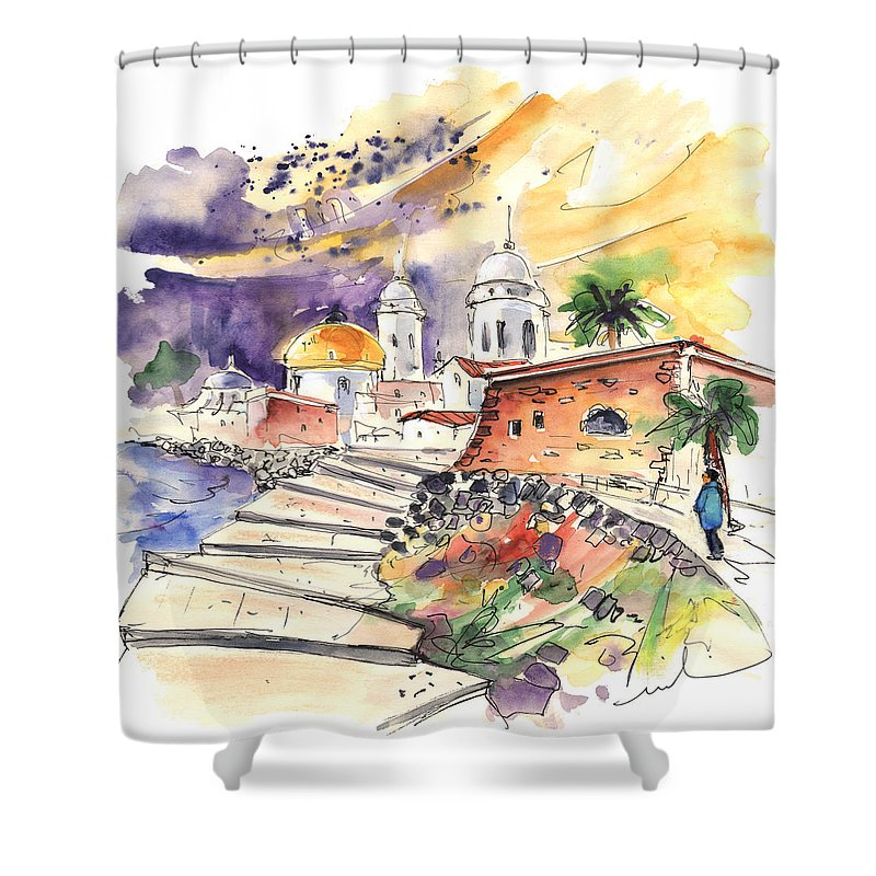 Travel Shower Curtain featuring the painting Cadiz Spain 01 by Miki De Goodaboom