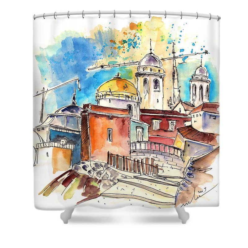 Travel Shower Curtain featuring the painting Cadiz Spain 02 by Miki De Goodaboom