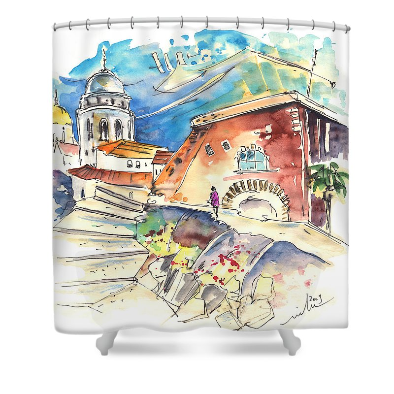 Travel Shower Curtain featuring the painting Cadiz Spain 03 by Miki De Goodaboom
