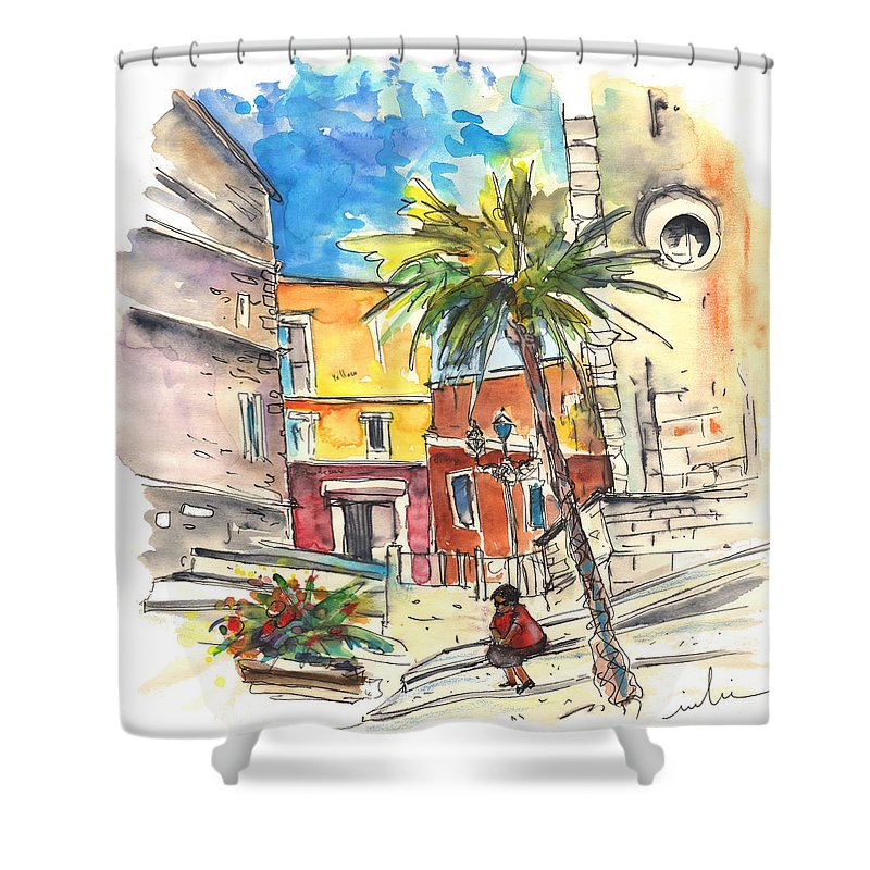 Travel Shower Curtain featuring the painting Cadiz Spain 05 by Miki De Goodaboom