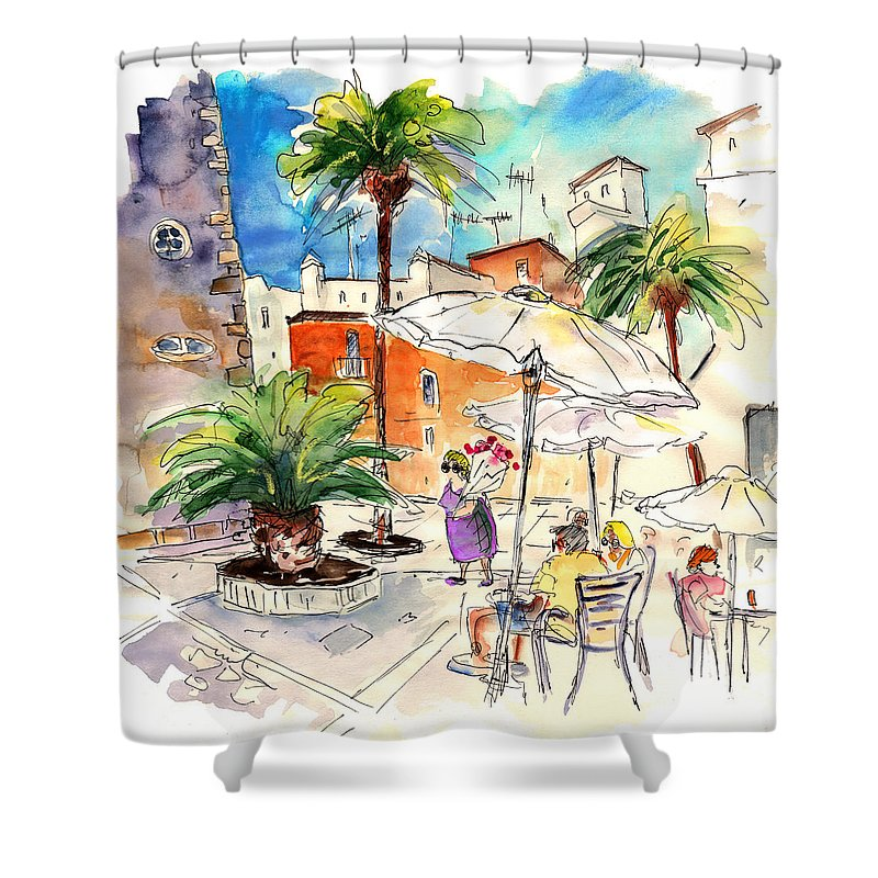 Travel Shower Curtain featuring the painting Cadiz Spain 13 by Miki De Goodaboom