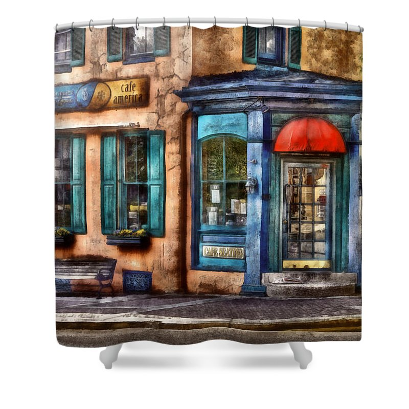 Savad Shower Curtain featuring the photograph Cafe - Cafe America by Mike Savad