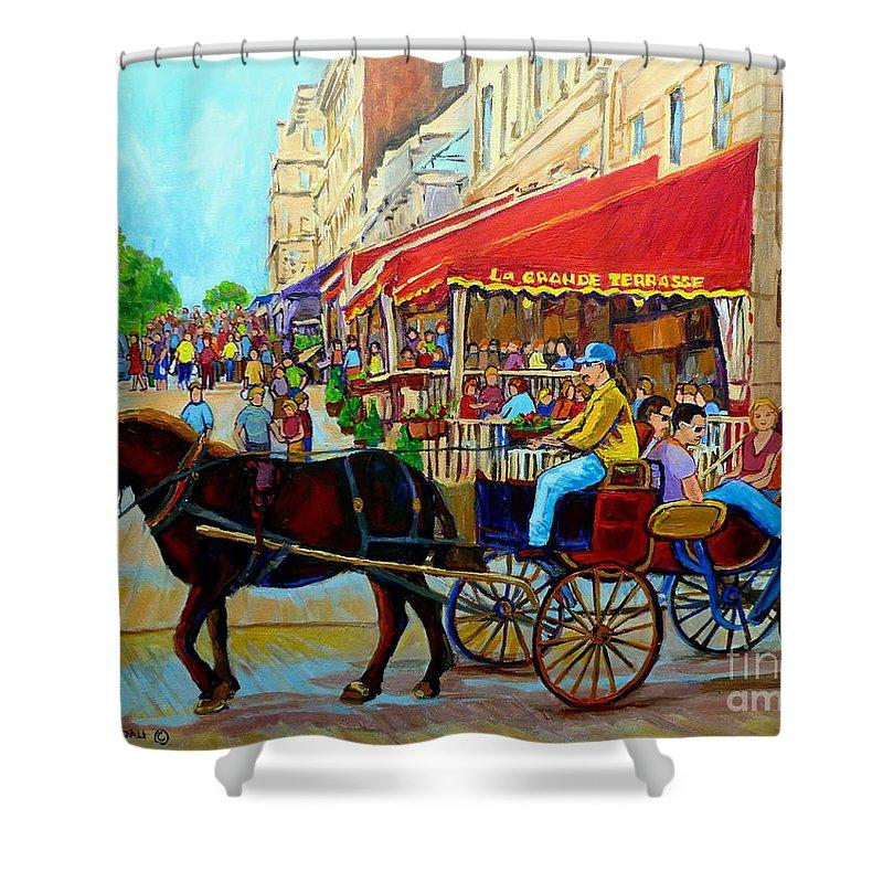 Cafe La Grande Terrasse Shower Curtain featuring the painting Cafe La Grande Terrasse by Carole Spandau
