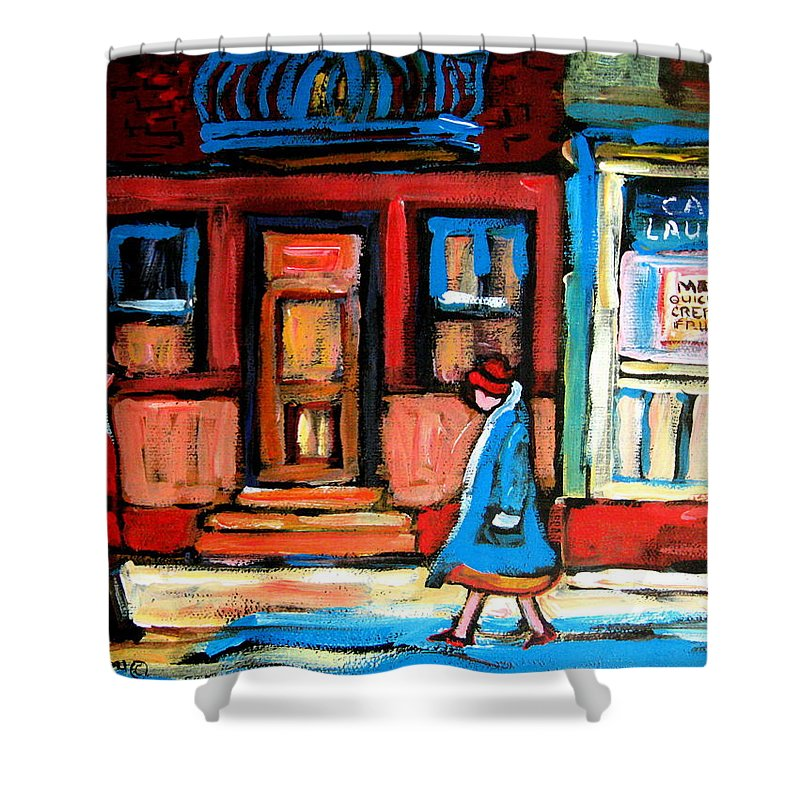 Cafe Laurier Montreal Shower Curtain featuring the painting Cafe Laurier Montreal by Carole Spandau