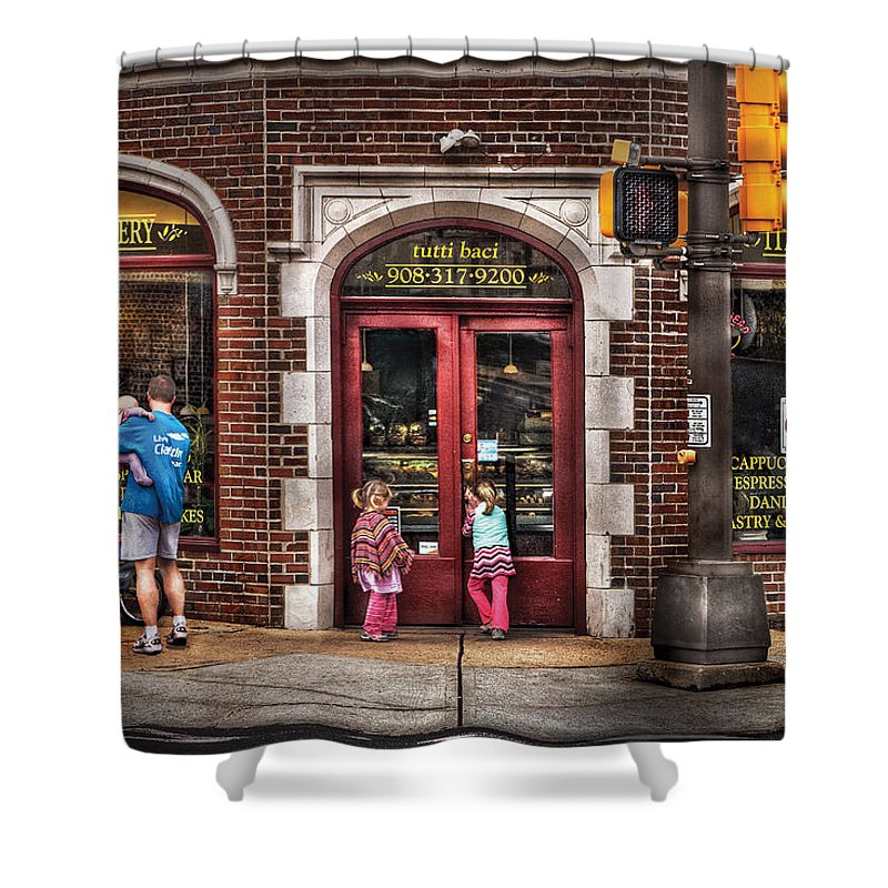 Traffic Light Shower Curtain featuring the photograph Cafe - The Italian Bakery by Mike Savad
