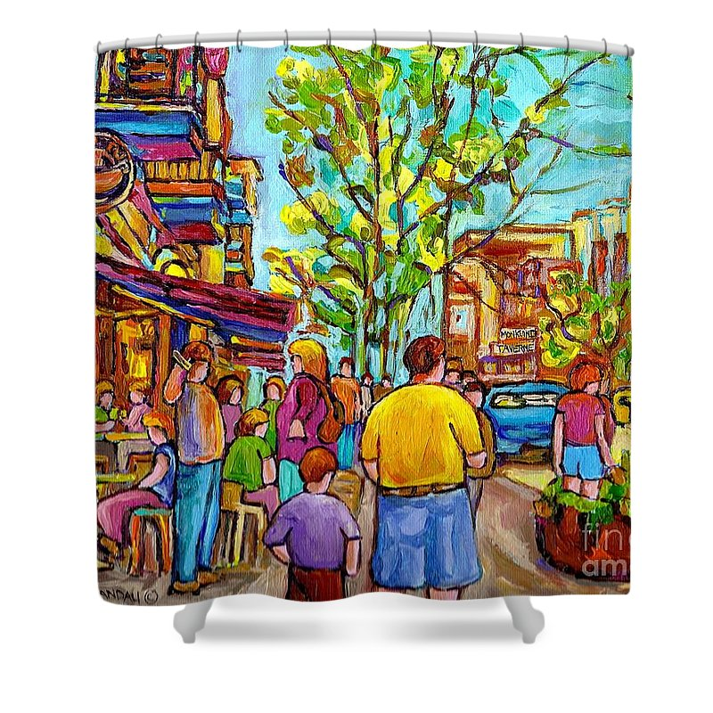 Montreal Streetscene Shower Curtain featuring the painting Cafes In Springtime by Carole Spandau
